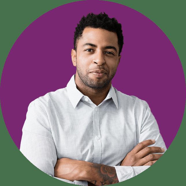 Man headshot on purple background